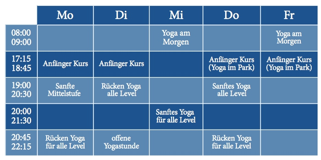 Yoga Kurse Sommer 2014