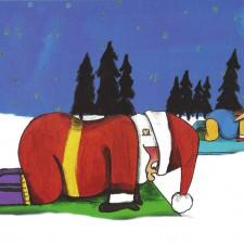 Weihnachtsmann beim Yoga