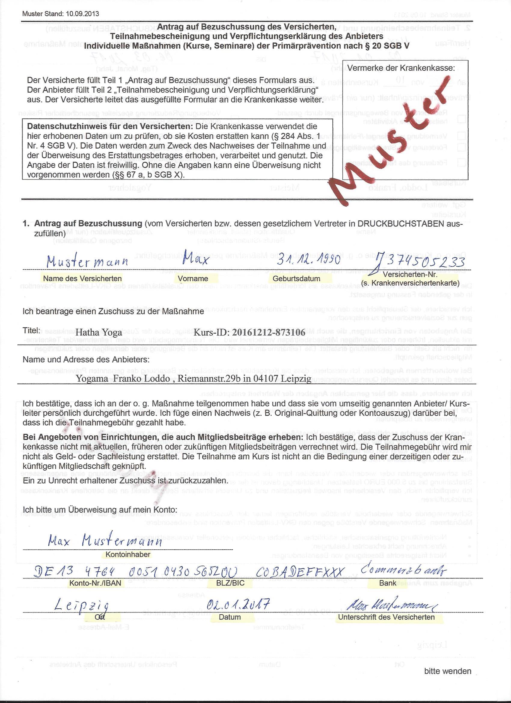 Mustervordruck-GKV-Bescheinigung Seite 1