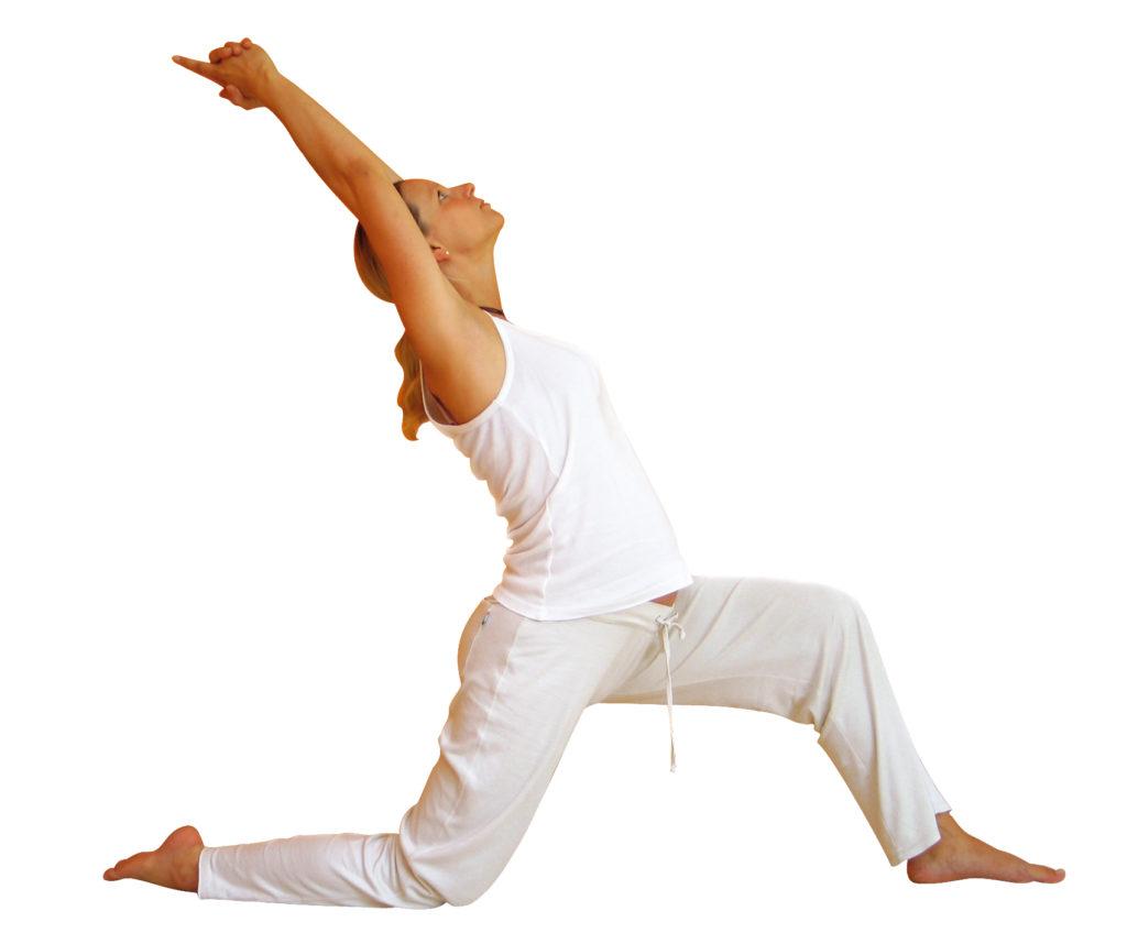 Yogini in der Asana Held 1 Knie abgestützt