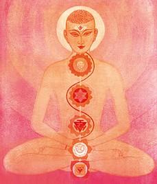 Yogi sitzend Chakras